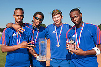 22 August 2010: Luis de la Rosa, David Van Heyningen, Boris Rothermundt, Jean Antonio Samer, pose with the trophy at the 2010 European Championship, under 21, in Brno, Czech Republic.