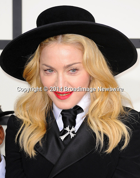 Pictured: Madonna<br /> Mandatory Credit &copy; Adhemar Sburlati/Broadimage<br /> The Grammy Awards  2014 - Arrivals<br /> <br /> 1/26/14, Los Angeles, California, United States of America<br /> <br /> Broadimage Newswire<br /> Los Angeles 1+  (310) 301-1027<br /> New York      1+  (646) 827-9134<br /> sales@broadimage.com<br /> http://www.broadimage.com