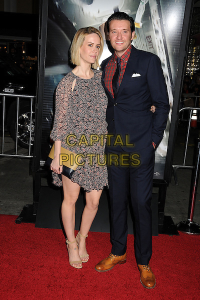 LOS ANGELES, CA - FEBRUARY 24 - Sarah Paulson, Jason Butler Harner. &quot;Non-Stop&quot; Los Angeles Premiere held at the Regency Village Theatre. <br /> CAP/ADM/BP<br /> &copy;Byron Purvis/AdMedia/Capital Pictures