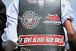 Bullrider's vest decorated with stickers.  Mareebaa Rodeo, Mareeba, Queensland, Australia