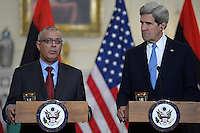 March 13, 2013  (Washington, DC)  Secretary of State John Kerry (r) and Libyan Prime Minister Ali Zeidan (l) held a bilateral meeting at the Department of State in Washington, D.C.  (Photo by Don Baxter/Media Images International)