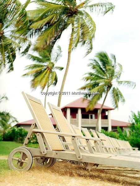 LE FRANCOIS, MARTINIQUE : Beach chairs at the Cap Est Lagoon Resort & Spa. Cap Est, Martinique. Eastern Caribbean.