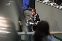 15. Sitzung des Bundestages am Freitag den 23. Februar 2018.<br /> Im Bild: Britta Hasselmann von der Partei Buendnis 90/Die Gruenen spricht in der aktuellen Stunde auf Antrag ihrer Partei zum Thema &quot;Demokratie/Erinnerungskultur angesichts rechtsextremistischer Angriffe&quot;.<br /> 23.2.2018, Berlin<br /> Copyright: Christian-Ditsch.de<br /> [Inhaltsveraendernde Manipulation des Fotos nur nach ausdruecklicher Genehmigung des Fotografen. Vereinbarungen ueber Abtretung von Persoenlichkeitsrechten/Model Release der abgebildeten Person/Personen liegen nicht vor. NO MODEL RELEASE! Nur fuer Redaktionelle Zwecke. Don't publish without copyright Christian-Ditsch.de, Veroeffentlichung nur mit Fotografennennung, sowie gegen Honorar, MwSt. und Beleg. Konto: I N G - D i B a, IBAN DE58500105175400192269, BIC INGDDEFFXXX, Kontakt: post@christian-ditsch.de<br /> Bei der Bearbeitung der Dateiinformationen darf die Urheberkennzeichnung in den EXIF- und  IPTC-Daten nicht entfernt werden, diese sind in digitalen Medien nach &sect;95c UrhG rechtlich geschuetzt. Der Urhebervermerk wird gemaess &sect;13 UrhG verlangt.]