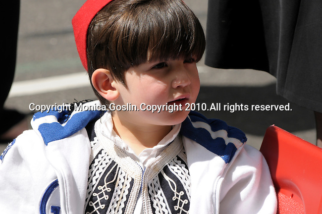Greek Parade in New York City. A boy in traditional Greek clothes in the Greek Parade in New York City.