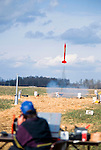 Tim Eisner launches a rocket. The more powerful rockets  achieve an altitude of over 60,000ft l at an amateur rocket festival..Manchester, Tennessee. USA