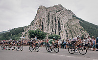 'Polka Dot' Warren Barguil (FRA/Sunweb) &amp; 'Green' Michael Matthews (AUS/Sunweb) riding through the town of Sisteron with it's distinctive monumental rock formations<br /> <br /> 104th Tour de France 2017<br /> Stage 19 - Embrun &rsaquo; Salon-de-Provence (220km)
