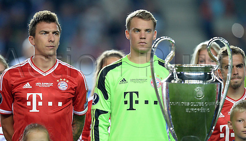 30.08.2013. Prague, Czech Republic.   UEFA Supercup 2013 FC Bayern Munich versus Chelsea. Mario Mandzukic left and Goalkeeper Manuel Neuer both FC Bavaria Munich