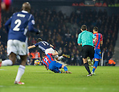 2nd December 2017, The Hawthorns, West Bromwich, England; EPL Premier League football, West Bromwich Albion versus Crystal Palace; Joel Ward of Crystal Palace performs a rugby tackle on Jay Rodriguez of West Bromwich Albion for which he receives a yellow card from Referee Michael Oliver