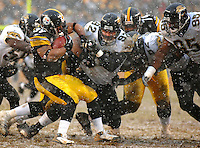 Jacksonville Jaguars defensive lineman #92 Rob Meier stops Pittsburgh Steelers running back #39 Willie Parker at Heinz Field in Pittsburgh, Pa. (The Florida Times-Union, Rick Wilson)