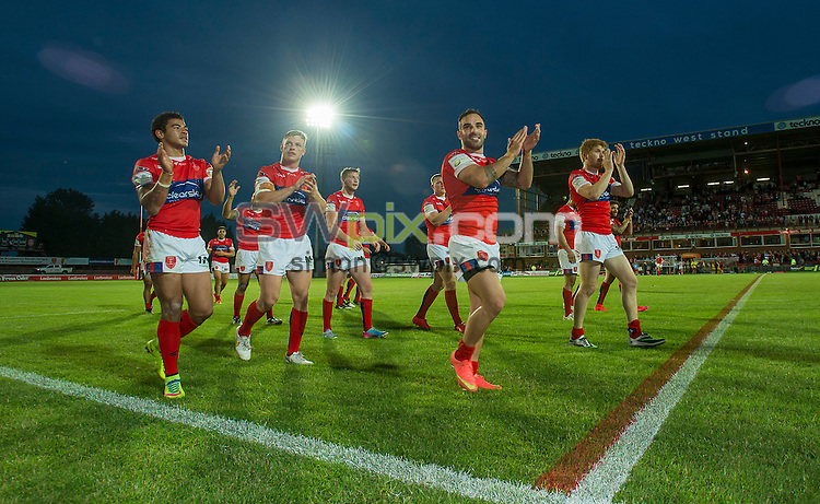 Picture by Allan McKenzie/SWpix.com - 25/06/2015 - Rugby League - Ladbrokes Challenge Cup - Hull Kingston Rovers v Catalans Dragons - KC Lightstream Stadium, Hull, England - Hull KR's thank the fans for their support.