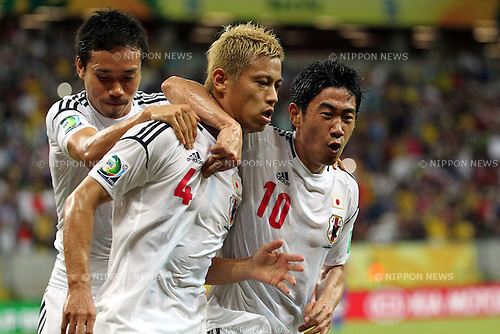(L-R) Yuto Nagatomo, Keisuke Honda, Shinji Kagawa (JPN),<br /> JUNE 19, 2013 - Football / Soccer :<br /> Keisuke Honda of Japan celebrates with his teammates Shinji Kagawa and Yuto Nagatomo after scoring the opening goal during the FIFA Confederations Cup Brazil 2013 Group A match between Italy 4-3 Japan at Arena Pernambuco in Recife, Brazil. (Photo by Toshihiro Kitagawa/AFLO)