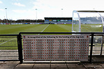A sponsor board acknowledging people who funded the dug outs. Darlington 1883 v Southport, National League North, 16th February 2019. The reborn Darlington 1883 share a ground with the town's Rugby Union club. <br /> After several years of relegations, bankruptcies, and ground moves, the club is fan owned, and back on an even keel in the National League North.<br /> A 0-0 draw with Southport was marred by a broken leg and dislocated knee suffered by Sam Muggleton, Darlington's on loan left back.<br /> Both teams finished the season in lower mid table.