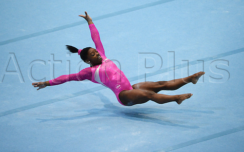05.10.2013. Antwerp, Belgium. Simone Biles of the USA competes on the Floor during the women's multisport finals at the Artistic Gymnastics World Championships in Antwerp, Belgium, 04 October 2013.