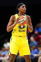 Washington, DC - June 14, 2019: Seattle Storm forward Crystal Langhorne (1) handles the ball during game between Seattle Storm and Washington Mystics at the St. Elizabeths East Entertainment and Sports Arena in Washington, DC. The Storm hold on to defeat the Mystics 74-71. (Photo by Phil Peters/Media Images International)