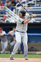Connecticut Tigers outfielder Kasey Coffman (28) at bat during the first game of a doubleheader against the Batavia Muckdogs on July 20, 2014 at Dwyer Stadium in Batavia, New York.  Connecticut defeated Batavia 5-3.  (Mike Janes/Four Seam Images)