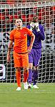 Nederland, Amsterdam, 26 mei 2012.Seizoen 2011/2012.Oefeninterland.Nederland-Bulgarije 1-2.Keeper Tim Krul en John Heitinga van Oranje balen na de 1-2 nederlaag tegen Bulgarije