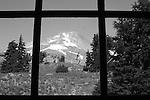 Mount Hood through window at Timberline Lodge Oregon, Mt. Hood, Mt. Hood through window, Oregon, Mount Hood 11,249 feet high Oregon, Mount Hood, Multnomah tribe, stratovolcano, Pacific Ocean, Fine Art Photography by Ron Bennett, Fine Art, Fine Art photography, Art Photography, Copyright RonBennettPhotography.com ©