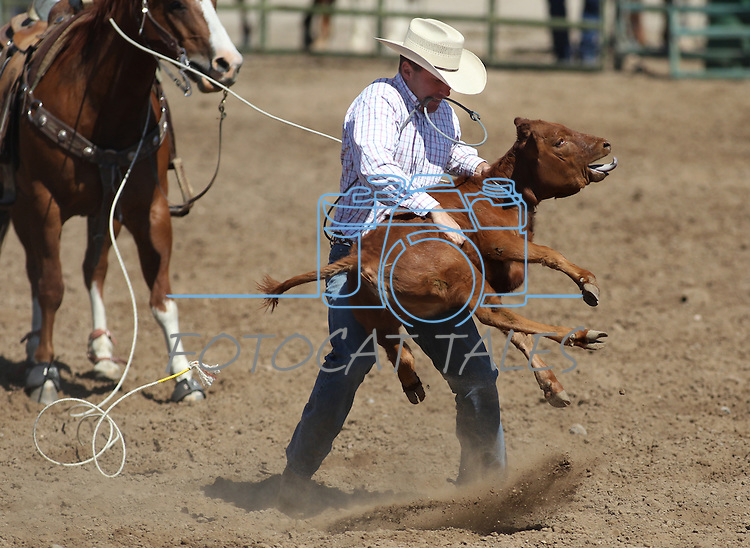 Matt Hussman competes in the calf roping event at the Minden Ranch Rodeo on Sunday, July 24, 2011, in Gardnerville, Nev. .Photo by Cathleen Allison