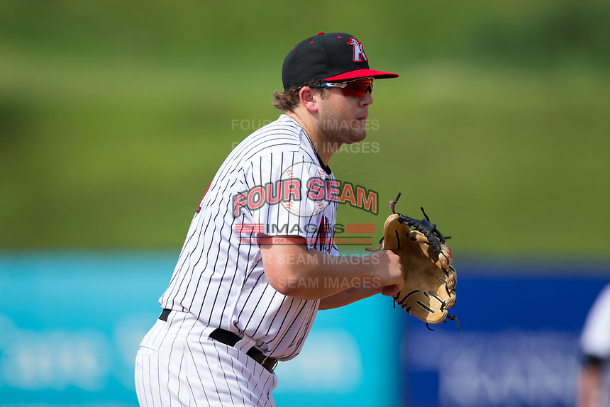 Kannapolis Intimidators third baseman Jake Burger (31) on defense against the Hagerstown Suns at Kannapolis Intimidators Stadium on July 9, 2017 in Kannapolis, North Carolina.  The Intimidators defeated the Suns 3-2 in game one of a double-header.  (Brian Westerholt/Four Seam Images)