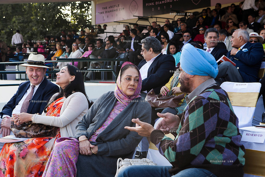 (L-R) Australia's High Commissioner to India Dr. Lachlan Strahan, Princess Diya Kumari of Jaipur, and Her Highness Rajmata Padmini Devi of Jaipur royal family watch the game, from the upper pavilion, between the Royal Jaipur Polo Team and the Western Australia Polo Team for the Argyle Pink Diamond Cup, organised as part of the 2013 Oz Fest in the Rajasthan Polo Club grounds in Jaipur, Rajasthan, India on 10th January 2013. Photo by Suzanne Lee