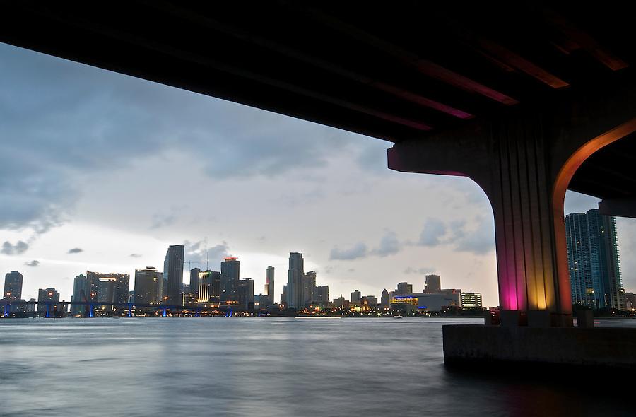View of  Downtown Miami from Julia Tuttle Causeway. Miami, Florida, USA