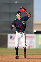 Carlos Correa #1 of the Lancaster JetHawks waits to catch a pop up during a game against the Inland Empire 66ers at The Hanger on May 26, 2014 in Lancaster, California. Lancaster defeated Inland Empire, 6-5. (Larry Goren/Four Seam Images)