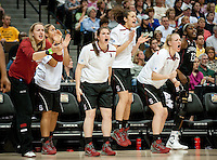 DENVER, CO--The Stanford Cardinal rallies their teammates against Baylor during the semifinals of the 2012 NCAA Women's Final Four in Denver, CO. The Cardinal fell to the Bears 47-59.