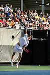WINSTON SALEM, NC - MAY 22: Tim Seibert of the Ohio State Buckeyes serves against the Wake Forest Demon Deacons during the Division I Men's Tennis Championship held at the Wake Forest Tennis Center on the Wake Forest University campus on May 22, 2018 in Winston Salem, North Carolina. Wake Forest defeated Ohio State 4-2 for the national title. (Photo by Jamie Schwaberow/NCAA Photos via Getty Images)