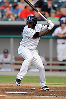 Birmingham Barons left fielder Jared Mitchell #4 awaits a pitch during the Southern League All-Star Game  at Smokies Park on June 19, 2012 in Kodak, Tennessee.  The South Division defeated the North Division 6-2. (Tony Farlow/Four Seam Images).