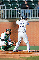 Brendon Sanger (23) of the Florida Atlantic Owls at bat against the Charlotte 49ers at Hayes Stadium on March 14, 2015 in Charlotte, North Carolina.  The Owls defeated the 49ers 8-3 in game one of a double header.  (Brian Westerholt/Four Seam Images)