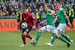 13.04.2019, Weser Stadion, Bremen, GER, 1.FBL, Werder Bremen vs SC Freiburg, <br /> <br /> DFL REGULATIONS PROHIBIT ANY USE OF PHOTOGRAPHS AS IMAGE SEQUENCES AND/OR QUASI-VIDEO.<br /> <br />  im Bild<br /> <br /> Pascal Stenzel (SC Freiburg #15)<br /> Ludwig Augustinsson (Werder Bremen #05)<br /> Max Kruse (Werder Bremen #10)<br /> <br /> Foto &copy; nordphoto / Kokenge