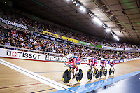 Picture by Alex Whitehead/SWpix.com - 04/03/2016 - Cycling - 2016 UCI Track Cycling World Championships, Day 3 - Lee Valley VeloPark, London, England - USA win Gold in the Women's Team Pursuit Final.<br /> <br /> 38 HAMMER Sarah<br /> 340 CATLIN Kelly<br /> 341 DYGERT Chloe<br /> 342 VALENTE Jennifer