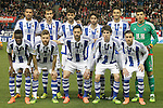 Real Sociedad's team photo with Jonathas de Jesus, Mikel Gonzalez, Xabi Prieto, Esteban Granero, Hector Hernandez, Geronimo Rulli, Bruma, Asier Illarramendi, Alberto de la Bella, Aritz Elustondo and Diego Reyes during La Liga match. March 1,2016. (ALTERPHOTOS/Acero)