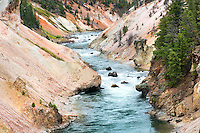 The Yellowstone River runs through the Grand Canyon of the Yellowstone at Sevenmile Hole in Yellowstone National Park.