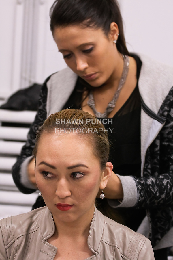 Backstage at the hair and makeup prep for BK Fashion Week{end} Fall/Winter 2012.