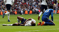 Fousseni Diabate of Leicester City and Kyle Walker-Peters of Tottenham Hotspur clash leaving the spurs player injured during Tottenham Hotspur vs Leicester City, Premier League Football at Wembley Stadium on 13th May 2018