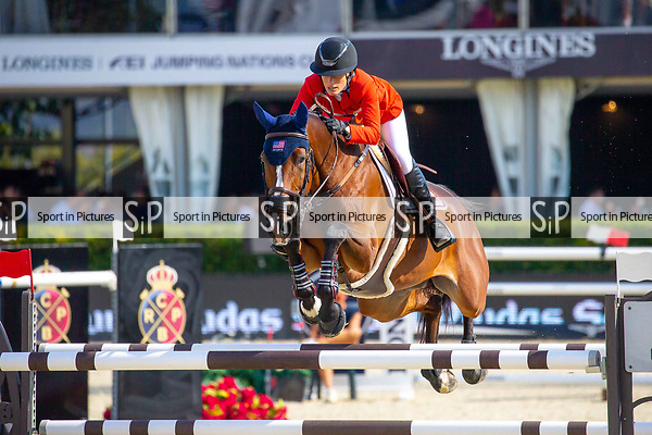 Winner. Jessica Springsteen. USA. Riding RMF Swinny Du Parc. First Round. Queen's Cup. Longines FEI Jumping Nations Cup Final. Showjumping. Barcelona. Spain. Day 2.06/10/2018. ~ MANDATORY Credit Elli Birch/Sportinpictures - NO UNAUTHORISED USE - 07837 394578