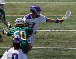 Vermont defender James Leary (#50) ushers Jakob Patterson (#17) away from goal as UAlbany Lacrosse defeats Vermont 14-4  in the American East Conference Championship game at Casey Stadium, May 5.
