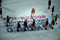 Wednesday, March 30, 2016: A Minute Man troupe performs during the opening ceremonies at the International Skating Union World Championship held at TD Garden, in Boston, Massachusetts. Eric Canha/CSM