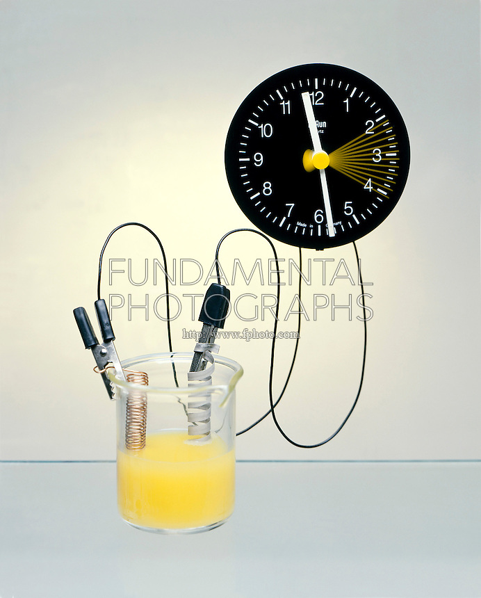 ELECTROCHEMICAL CELL: ORANGE JUICE CLOCK<br />