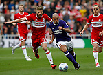Adam Clayton of Middlesbrough tussles with Samir Carruthers of Sheffield Utd during the Championship match at the Riverside Stadium, Middlesbrough. Picture date: August 12th 2017. Picture credit should read: Simon Bellis/Sportimage