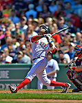 10 June 2012: Boston Red Sox outfielder Darnell McDonald in action against the Washington Nationals at Fenway Park in Boston, MA. The Nationals defeated the Red Sox 4-3 to sweep their 3-game interleague series. Mandatory Credit: Ed Wolfstein Photo