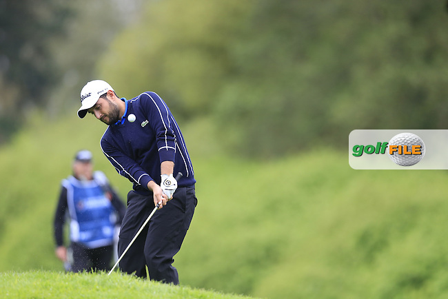 Alexander Levy (FRA) chips at the 17th green during Thursday's Round 1 of the 2016 Dubai Duty Free Irish Open hosted by Rory Foundation held at the K Club, Straffan, Co.Kildare, Ireland. 19th May 2016.<br /> Picture: Eoin Clarke | Golffile<br /> <br /> <br /> All photos usage must carry mandatory copyright credit (&copy; Golffile | Eoin Clarke)
