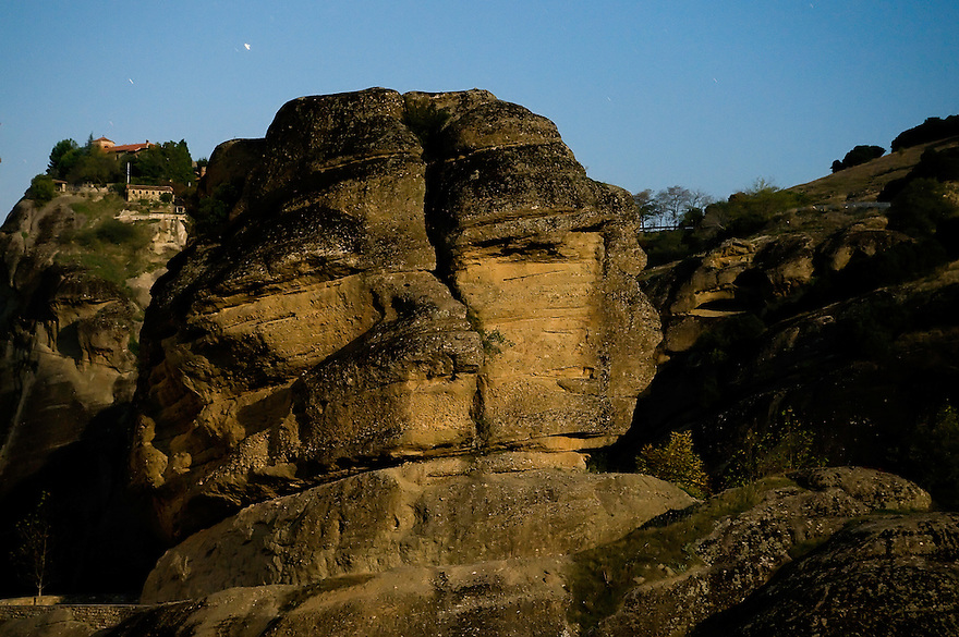 Greece, Meteora, stone-face in Moonlight near Varlaam Monastery