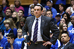 31 December 2014: Duke head coach Mike Krzyzewski. The Duke University Blue Devils hosted the Wofford College Terriers at Cameron Indoor Stadium in Durham, North Carolina in a 2014-16 NCAA Men's Basketball Division I game.
