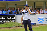 Stuart Manley (WAL) misses his putt to tie the scores on the 18th green during Sunday's Final Round of the Northern Ireland Open 2018 presented by Modest Golf held at Galgorm Castle Golf Club, Ballymena, Northern Ireland. 19th August 2018.<br /> Picture: Eoin Clarke | Golffile<br /> <br /> <br /> All photos usage must carry mandatory copyright credit (&copy; Golffile | Eoin Clarke)