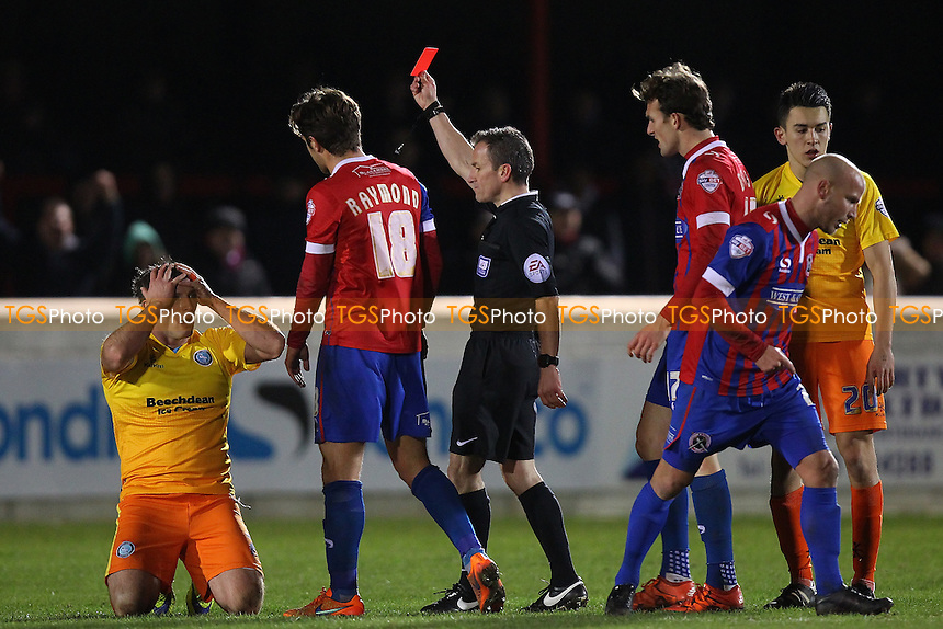 Garry Thompson of Wycombe Wanderers (L) is sent off by referee Stroud during Dagenham and Redbridge vs Wycombe Wanderers, Sky Bet League 2 Football at the Chigwell Construction Stadium,