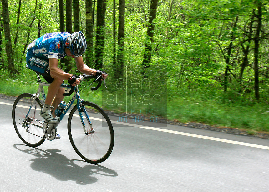 Jason McCartney, of the Discovery Channel Pro Cycling Team, rides a solo breakaway during Stage 5 of the Ford Tour de Georgia. Tom Danielson, of the Discovery Channel Pro Cycling Team, won the 94.5-mile (152.1-km) stage from Blairsville to the top of Brasstown Bald, the highest point in the state.<br />