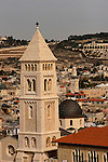 Jerusalem, Israel, The bell tower and the dome of the Lutheran Church of the Redeemer at the Christian quarter of the Old City, Mount Scopus is in the background<br />