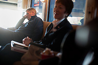 Senator Scott Brown (R-MA) rests on his campaign bus between stops with Senator Susan Collins (R-ME) between campaign stops in Framingham and Lowell, Massachusetts, USA, on Thurs., Nov. 2, 2012. Senator Scott Brown is seeking re-election to the Senate.  His opponent is Elizabeth Warren, a democrat.